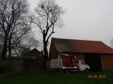Podest ruchomy ABL 16/18 TK (podnośnik koszowy – zwyżka) wycinka drzewa wrośniętego w budynek gospodarczy - Kopienica